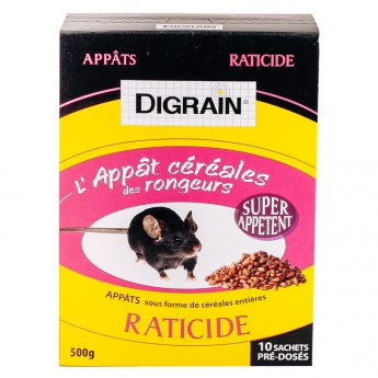Digrain l'Appât Céréales des Rongeurs Raticide (500 gr)